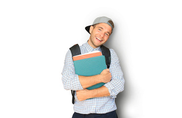 Student in plaid shirt and baseball cap