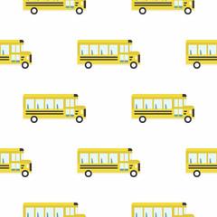 Yellow school bus seamless pattern.