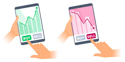The hands are holding a tablets with stock quote charts on the screens. The fall and increase in the shares price graphs. The trader's computers, sell, buy buttons. Business flat concept illustration.