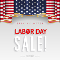 Labor Day sale banner. Labor Day special offer design vector.
