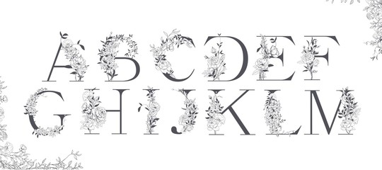 Wedding alphabet. Initials with botanical elements. Monogram arrangement.