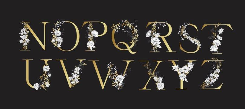 Wedding alphabet. Initials with botanical elements. Monogram arrangement.