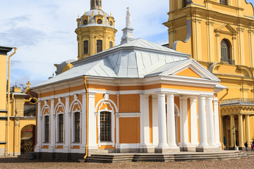 Boat house of Peter the Great and Peter and Paul cathedral, Peter and Paul Fortress.