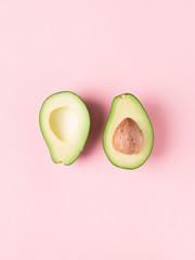 Half and full raw avocado minimalism pastel