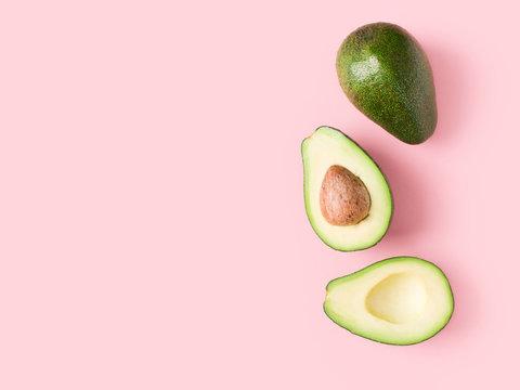 Half and full raw avocado minimalism pastel
