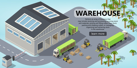 Vector 3d isometric site template with warehouse, trucks for shipping, logistic. Site with button. Portal background with forklifts, goods and storage. Commercial service with transportation, delivery