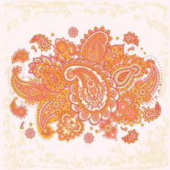 Paisley seamless floral pattern. Damask vintage background