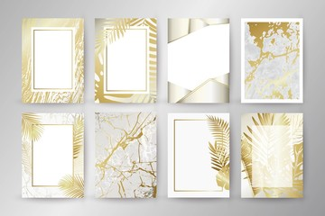 Set of elegant brochure, card, background, cover. Black and golden marble texture. Palm, exotic leaves.