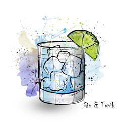 Hand drawn illustration of cocktail Gin and tonic.