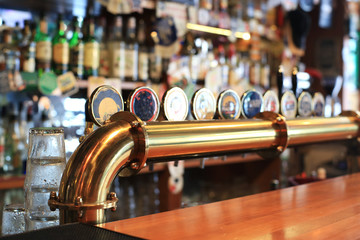 Tuinposter Bier / Cider Classic bar with bar counter and beer taps