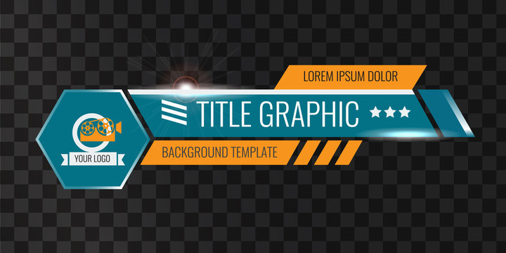 Video headline title or lower third template. Unique banner design for video