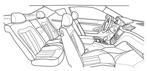 Machine inside. Interior of the vehicle. Illustration