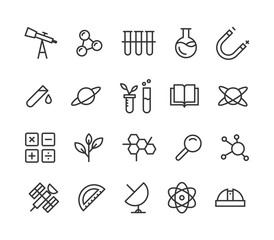 Simple Set of Science Related Vector Line Icons. Contains such Icons as Biology, Astronomy, Physics, Science Test, Lab and more. Editable Stroke. 48x48 Pixel Perfect