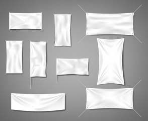 White fabric blank textile banners for advertising with folds. Cotton empty smooth flag poster or placard templates set. Vector illustration