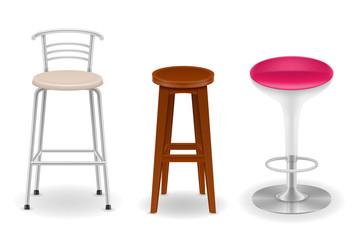 bar chair stool set icons vector illustration