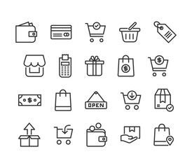 Simple Set of Shopping Related Vector Line Icons. Contains such Icons as Express Checkout, Add, Refresh and more. Editable Stroke. 48x48 Pixel Perfect.