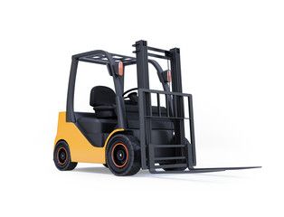 Electric forklift isolated on white background. 3D rendering image.