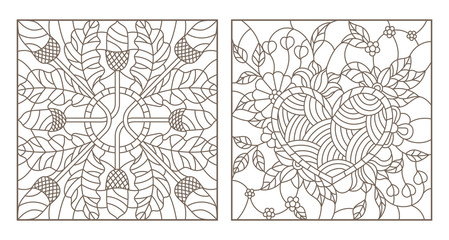 Set of contour illustrations of stained glass Windows, heart with flowers and composition of acorns and oak leaves, dark contours on a white background