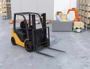 Close-up view of electric forklift in modern distribution center. 3D rendering image.