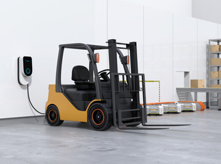 Electric forklift, logistics robots charging in charging station. 3D rendering image.