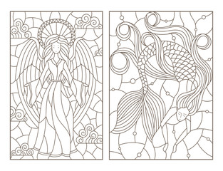 Set of contour illustrations of stained glass Windows with a girl angel and a mermaid, dark contours on a white background
