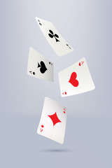 Four flying aces isolated on gray background. Vector illustration.