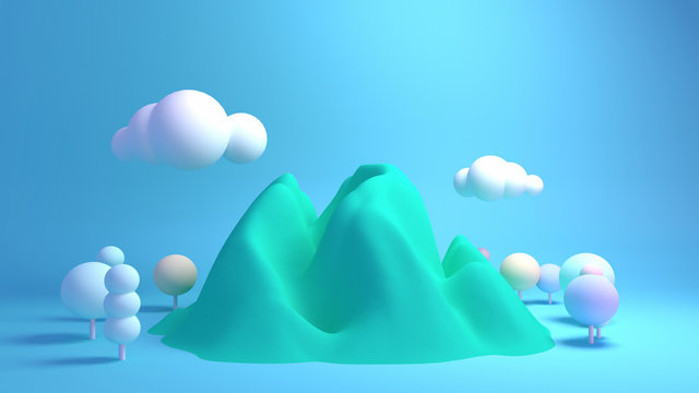 Pastel green mountains, forest, clouds and blue sky. 3d rendering picture.