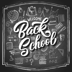 Welcome back to school hand drawn lettering with 3d shadow and sketch doodle, custom brush calligraphy on vintage black chalkboard background. Vector illustration.