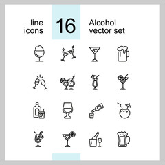 Alcohol icons. Set of  line icons. Cocktail, toast, martini. Alcoholic drinks concept. Vector illustration can be used for topics like drinks, bar, restaurant