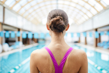 Back view of wet female in swimsuit standing in front of swimming-pool before jump
