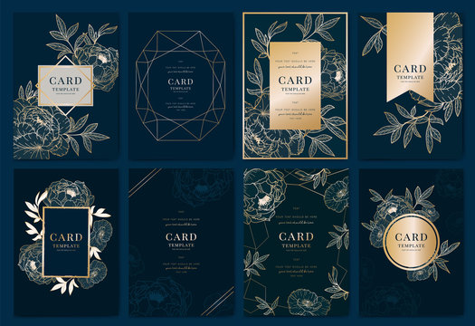 Wedding Invitation modern card Design in golden peony with   tropical palm leaf eucalyptus branches decorative on deep Navy blue background Vector elegant rustic template