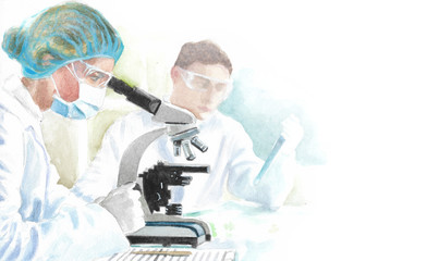 science medical laboratory, watercolor illustration of doctors looking in a microscope, scientific experiments in medicine, pharmacy and cosmetology, research and development concept