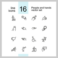 People and hands icons. Set of line icons. Approval, gym, disabled man. Public pictograms concept. Vector illustration can be used for topics like public services, gestures, signs and symbols