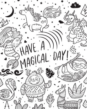 Have a magical day. Card with real, magical and mystical animals. Ideal for coloring print