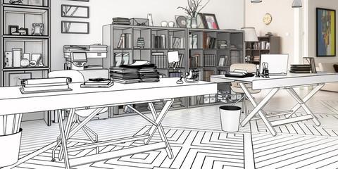 Planung einer Büroeinrichtung (panoramisch)