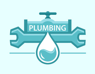 plumbing symbol with pipe and wrench