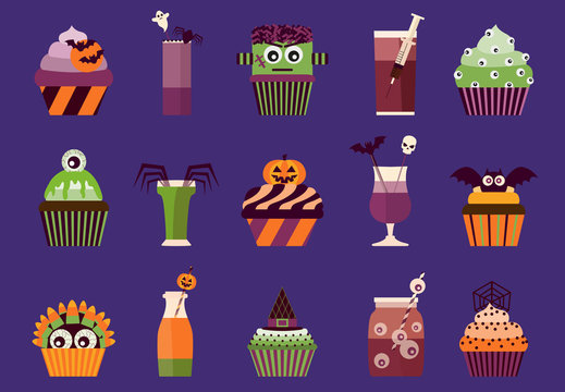 Halloween cupcakes and cocktails icons. Spooky halloween drinks and food with eyeballs, bats, skulls, monster head and other creepy symbols.