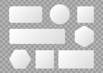 White blank button. Round square buttons. 3d vector buttons