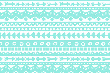 Blue and white geometric background. Ethnic hand drawn pattern