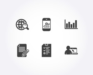Set of Article, Internet search and Interview icons. Column chart, Smartphone statistics and Online education signs. Feedback, Web finder, Checklist file. Vector