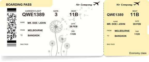 Vector yellow, black and white illustration of boarding pass ticket. Isolated on white background.