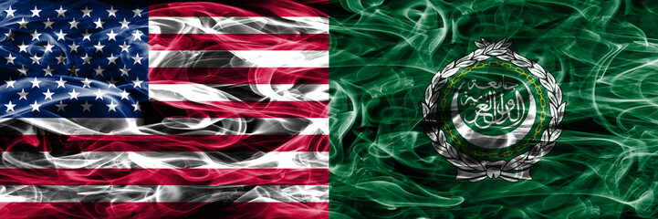 United States vs Arab League smoke flags concept placed side by side