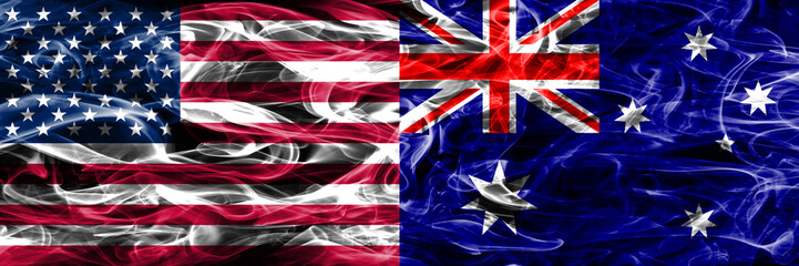 United States vs Australia smoke flags concept placed side by side
