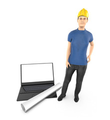 3d character , woman , hard helmet , laptop and civil drawing