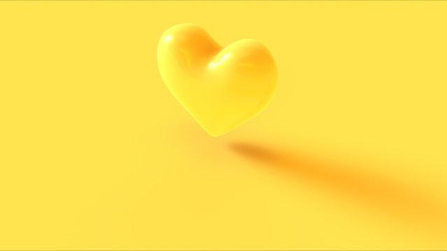 Yellow Heart 3d Icon 3d illustration 3d render
