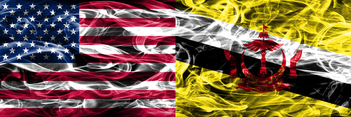 United States vs Brunei smoke flags concept placed side by side
