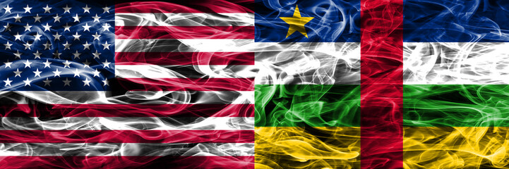 United States vs Central African Republic smoke flags concept placed side by side