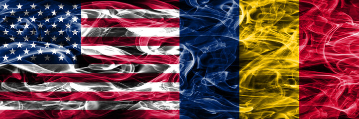 United States vs Chad smoke flags concept placed side by side