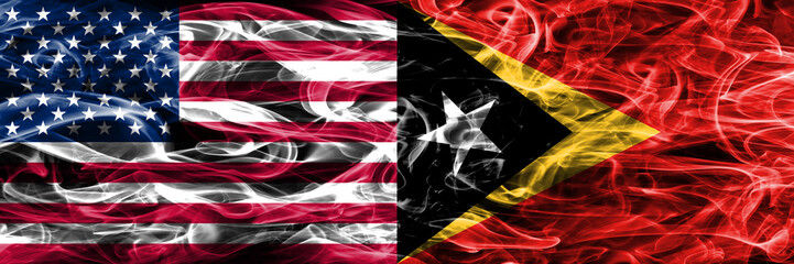 United States vs East Timor smoke flags concept placed side by side