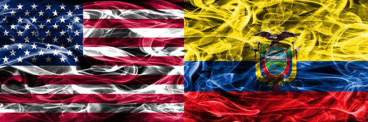 United States vs Ecuador smoke flags concept placed side by side